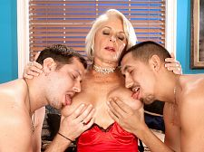 Georgette copulates two boys for the first time on-camera